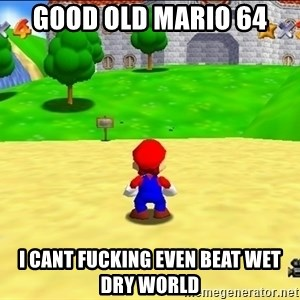 Mario looking at castle - GOOD OLD MARIO 64 I CANT FUCKING EVEN BEAT WET DRY WORLD