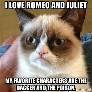 Grumpy Cat  - I love Romeo and Juliet My favorite characters are the dagger and the poison.
