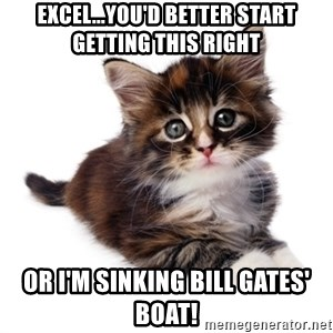 fyeahpussycats - Excel...you'd better start getting this right Or I'm sinking Bill Gates' boat!