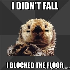 Roller Derby Otter - I didn't fall I blocked the floor