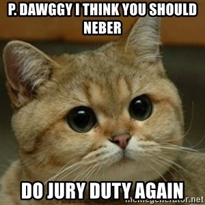Do you think this is a motherfucking game? - p. dawggy i think you should neber do jury duty again