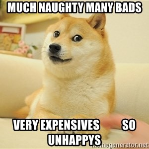 so doge - Much naughty many bads very expensives          so unhappys