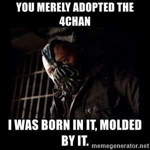 Bane Meme - You merely adopted the 4chan I was born in it, molded by it.