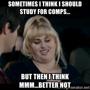 Better Not - Sometimes I think I should study for comps... but then I think mmm...better not
