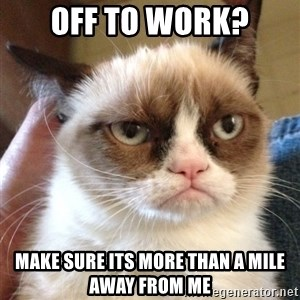 Grumpy Cat 2 - off to work? make sure its more than a mile away from me