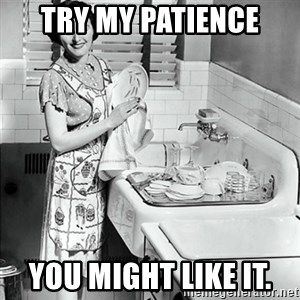 50s Housewife - Try my patience you might like it.
