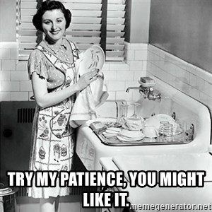50s Housewife -  Try my patience, you might like it.