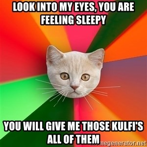 Advice Cat - Look into my eyes, you are feeling sleepy you will give me those kulfi's ALL OF THEM