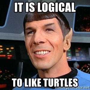 smiling spock - It is logical to like turtles