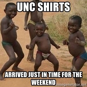 Dancing African Kid - UNC Shirts Arrived just in time for the weekend