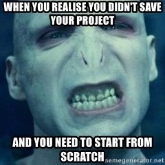 Angry Voldemort - when you realise you didn't save your project and you need to start from scratch