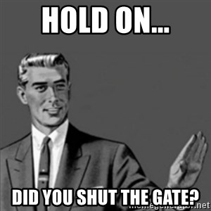 Correction Guy - Hold on... Did you shut the gate?
