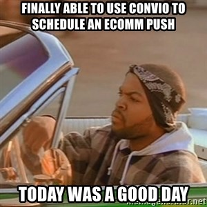 Good Day Ice Cube - finally able to use convio to schedule an ecomm push today was a good day