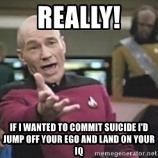 Captain Picard - Really! If I wanted to commit suicide I'd jump off your ego and land on your IQ