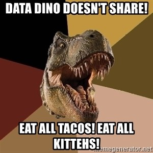 Raging T-rex - Data Dino doesn't share! Eat all tacos! Eat all kittehs!