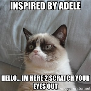 Grumpy cat good - inspired by Adele Hello... im here 2 scratch your eyes out