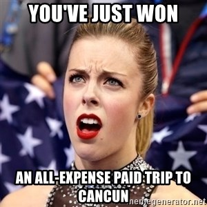 Ashley Wagner Shocker - YOU'VE JUST WON AN ALL-EXPENSE PAID TRIP TO CANCUN