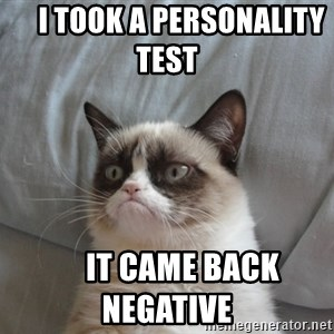 Grumpy cat good -      I took a personality test           It came back negative