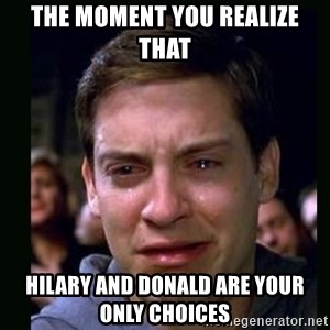crying peter parker - The moment you realize that  Hilary and Donald are your only choices
