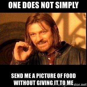 one does not  - One does not simply send me a picture of food without giving it to me