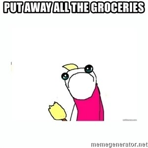 sad do all the things - Put away all the groceries