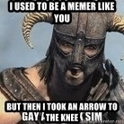 Skyrim Meme Generator - I used to be a memer like you but then i took an arrow to the knee