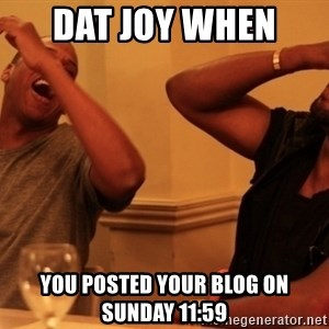 Jay-Z & Kanye Laughing - dat joy when  you posted your blog on sunday 11:59