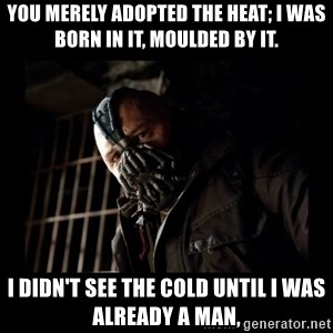 Bane Meme - you merely adopted the heat; I was born in it, moulded by it. I didn't see the cold until I was already a man,