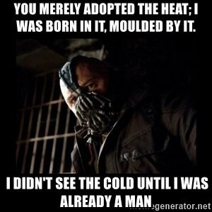Bane Meme - you merely adopted the heat; I was born in it, moulded by it.   I didn't see the cold until I was already a man
