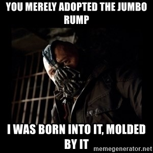 Bane Meme - You merely adopted the jumbo rump I was born into it, molded by it