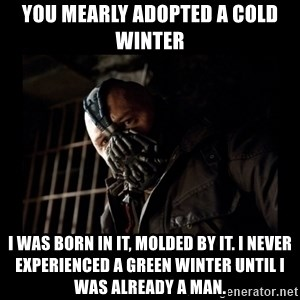 Bane Meme - You mearly adopted a cold winter I was born in it, molded by it. I never experienced a green winter until I was already a man.