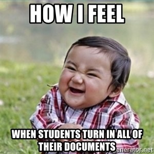 evil plan kid - HOW I FEEL WHEN STUDENTS TURN IN ALL OF THEIR DOCUMENTS