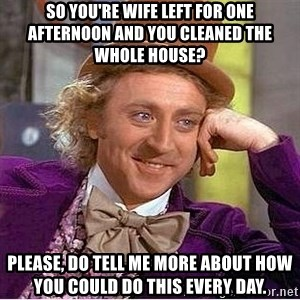 Oh so you're - So you're wife left for one afternoon and you cleaned the whole house? Please, do tell me more about how you could do this every day.