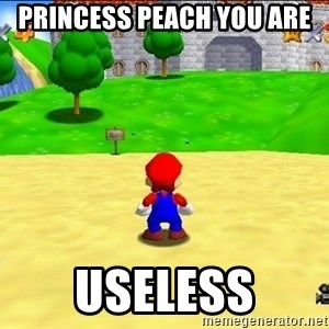 Mario looking at castle - PRINCESS PEACH YOU ARE  USELESS