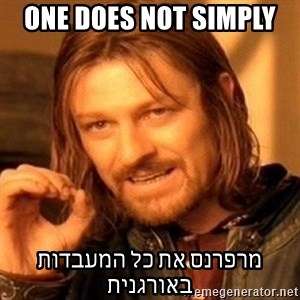 One Does Not Simply - one does not simply  מרפרנס את כל המעבדות באורגנית