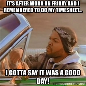 Good Day Ice Cube - It's after work on Friday and I remembered to do my timesheet... I gotta say it was a good day!