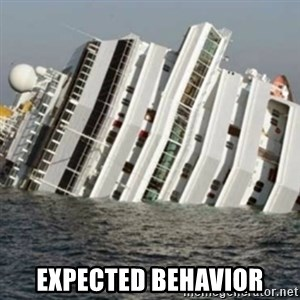 Sunk Cruise Ship -  Expected behavior