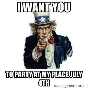 I want you (No words) - I want you To party at my place July 4th