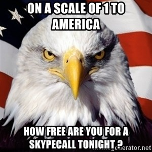 Freedom Eagle  - On a scale of 1 to america how free are you for a skypecall tonight ?