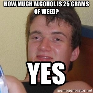 high/drunk guy - How much alcohol is 25 grams of weed? YES