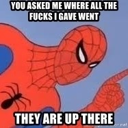 Spiderman - YOU ASKED ME WHERE ALL THE FUCKS I GAVE WENT THEY ARE UP THERE