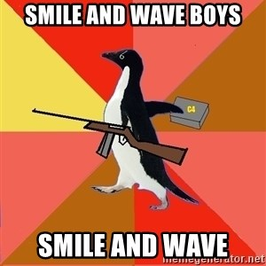 Socially Fed Up Penguin - smile and wave boys smile and wave