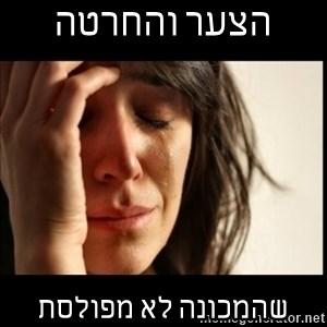 First World Problems - הצער והחרטה  שהמכונה לא מפולסת
