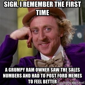 Willy Wonka - Sigh, I remember the first time A grumpy ram owner saw the sales numbers and had to post ford memes to feel better