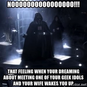 Darth Vader - Nooooooo - Noooooooooooooooo!!! That feeling when your dreaming about meeting one of your geek idols and your wife wakes you up.