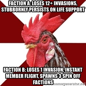 Roleplaying Rooster - Faction A: loses 12+ invasions, stubbornly persists on life support Faction B: loses 1 invasion, instant member flight, spawns 3 spin off factions