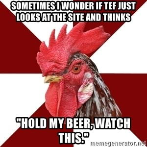 """Roleplaying Rooster - Sometimes I wonder if Tef just looks at the site and thinks """"Hold my beer, watch this."""""""