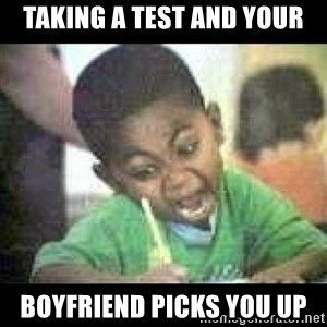 Black kid coloring - taking a test and your boyfriend picks you up