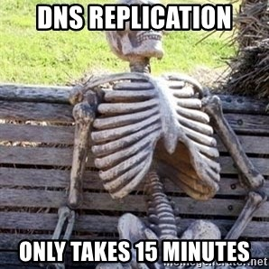 Waiting For Op - DNS Replication Only takes 15 minutes