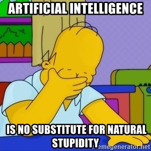 Homer Facepalm - Artificial intelligence  is no substitute for natural stupidity